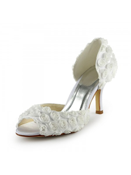 Women's Gorgeous Satin Stiletto Heel Peep Toe With Flowers White Chaussures de mariage