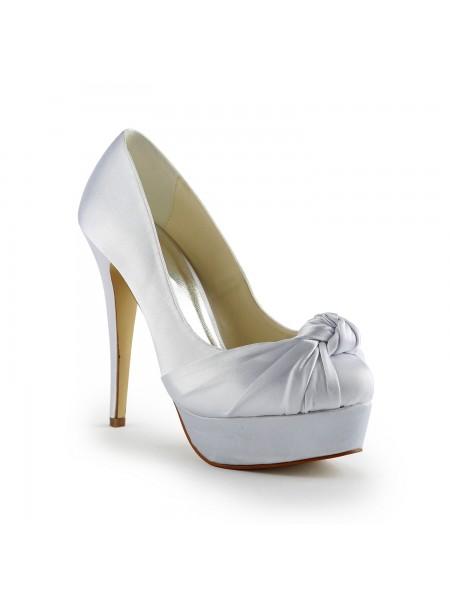 Women's Magnifique Satin Stiletto Heel Pumps With Ruched White Chaussures de mariage