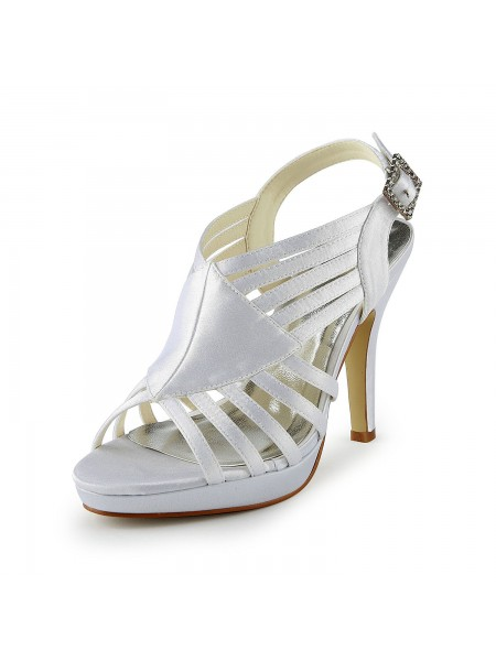 Women's Magnifique Satin Stiletto Heel Sandals With Buckle White Chaussures de mariage