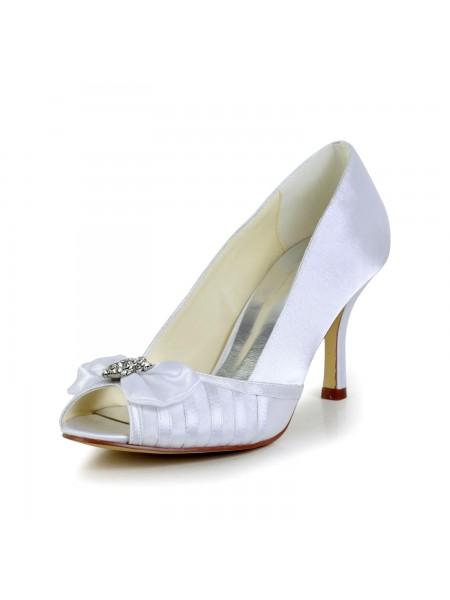 Women's Gracieux Boucles Stiletto Heel Satin White Chaussures de mariage