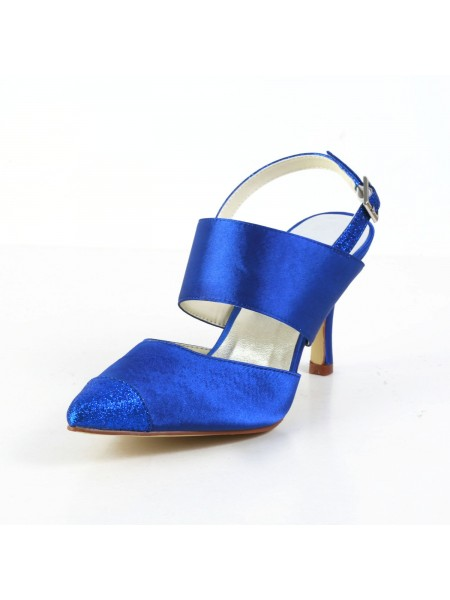Women's Gracieux Satin Stiletto Heel Sandals Toe Fermé White Chaussures de mariage