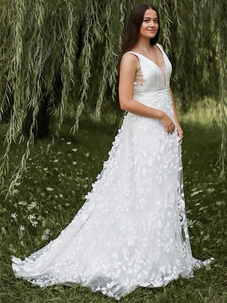 Trapèze/Principessa Sans Manches Organza Col en V Appliqués Traîne courte Robes de mariée