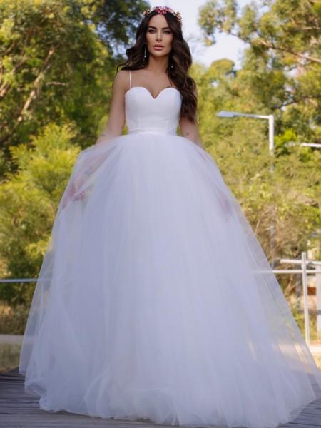 Robe de bal Tulle Col en coeur Sans Manches Traîne courte Robes de mariée