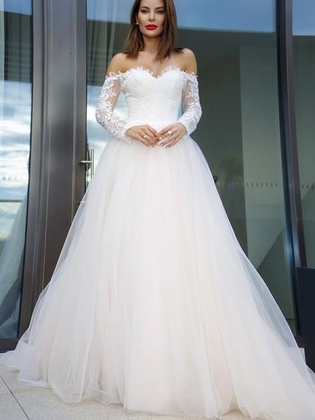 Trapèze/Principessa Longue Manches Tulle Appliqués Épaules dégagées Traîne moyenne Robes de mariée