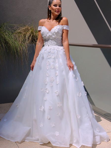 Robe de bal Col en V Tulle Appliqués Sans Manches Traîne mi-longueue Robes de mariée
