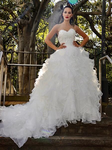 Robe de bal Organza Sans Manches Paillette Col en coeur Traîne mi-longueue Robes de mariée