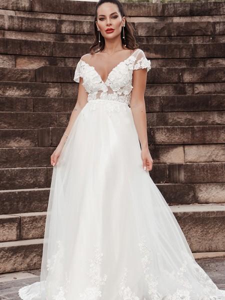 Trapèze/Principessa Sans Manches Appliqués Col en V Tulle Traîne courte Robes de mariée