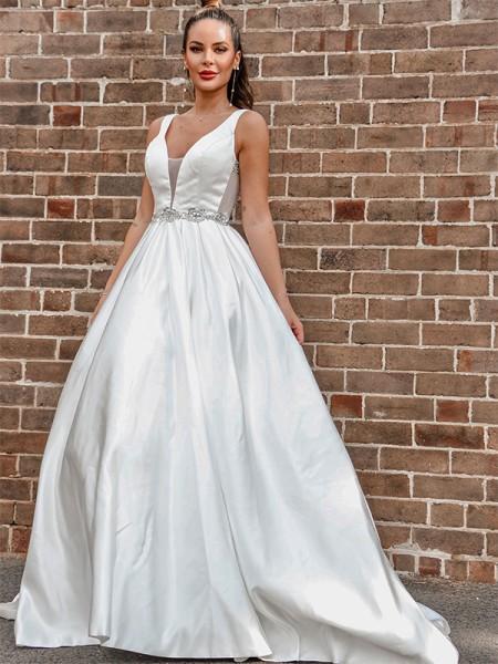 Trapèze/Principessa Satiné Col en V Perles Sans Manches Traîne moyenne Robes de mariée