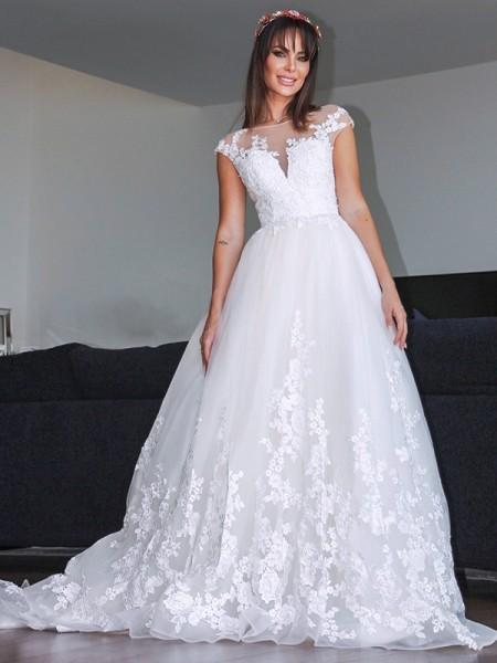 Trapèze/Principessa Tulle Appliqués Col en V Sans Manches Traîne moyenne Robes de mariée