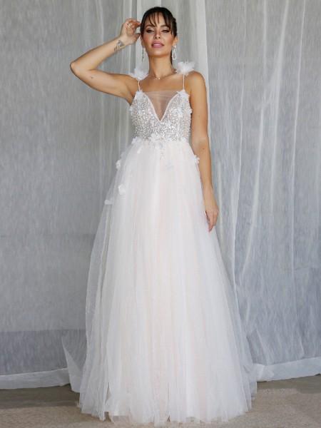 Trapèze/Principessa Col en V Perles Sans Manches Tulle Longueur ras du sol Robes de mariée