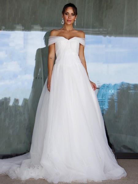 Trapèze/Principessa Sans Manches Tulle Épaules dégagées Froncée Traîne courte Robes de mariée