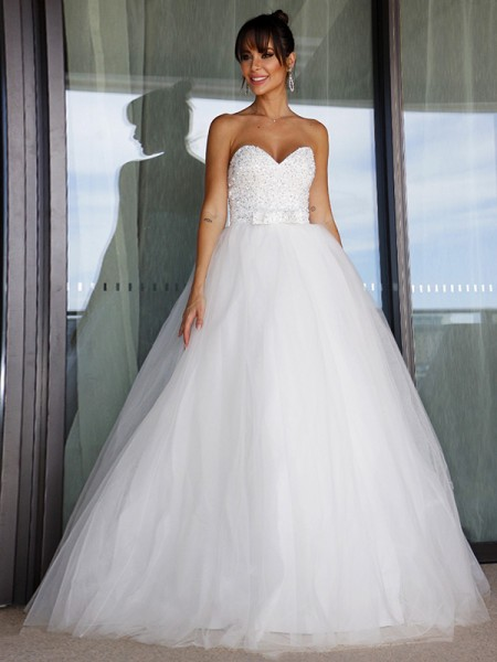 Robe de bal Tulle Col en coeur Boucles Sans Manches Longueur ras du sol Robes de mariée
