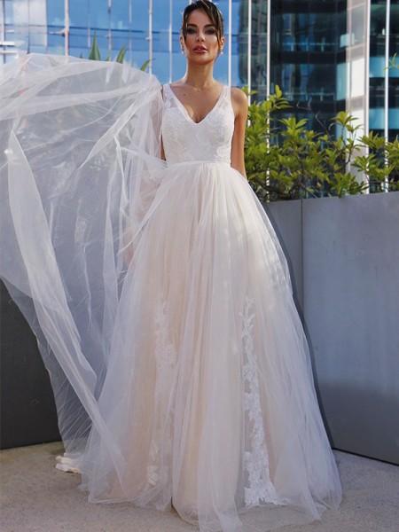 Trapèze/Principessa Tulle Col en V Appliqués Sans Manches Traîne courte Robes de mariée