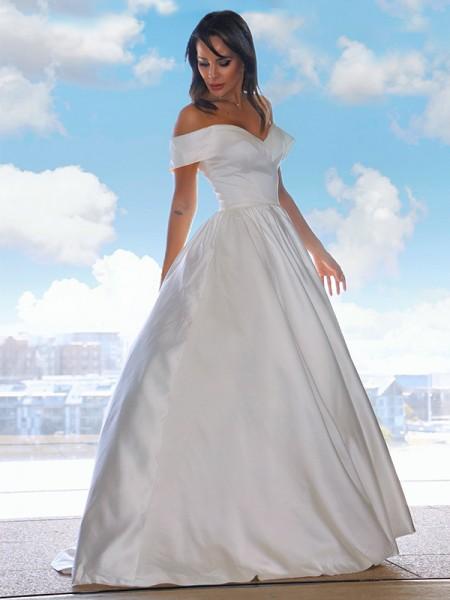 Robe de bal Satiné Volants Épaules dégagées Sans Manches Traîne moyenne Robes de mariée