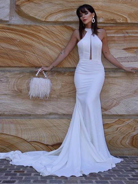 Sirène/Trompette Licou Sans Manches Stretch Crepe Volants Traîne moyenne Robes de mariée