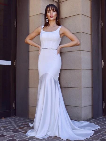 Sirène/Trompette Col carré Rubans/Ceintures Stretch Crepe Sans Manches Traîne courte Robes de mariée