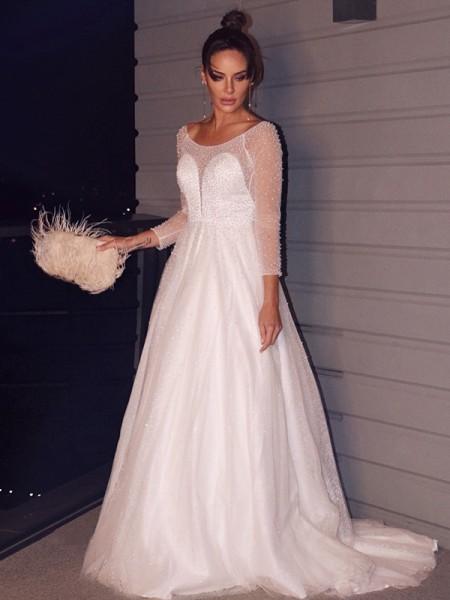Trapèze/Principessa Perles Col plongueeant Tulle Longue Manches Traîne courte Robes de mariée