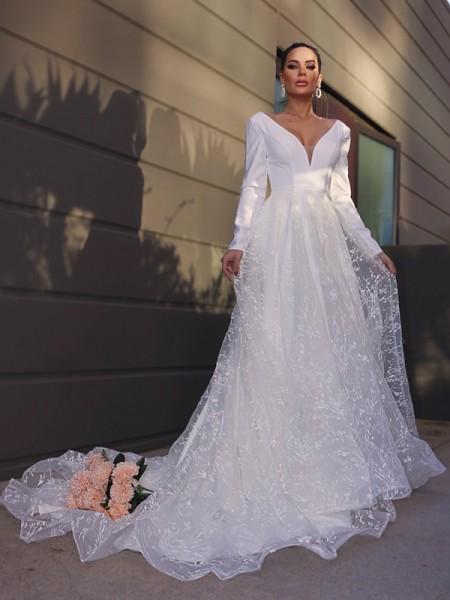 Trapèze/Principessa Col en V Longue Manches Dentelle Appliqués Traîne courte Robes de mariée