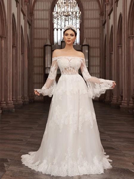 Trapèze/Principessa Épaules dégagées Tulle Longue Manches Appliqués Traîne courte Robes de mariée