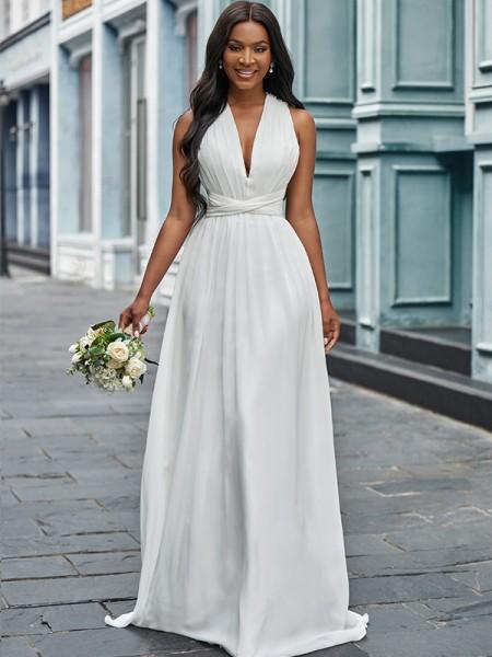 Trapèze/Principessa Mousseline Licou Froncée Sans Manches Longueur ras du sol Robes de mariée
