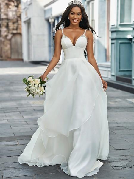 Trapèze/Principessa Col en V Organza Sans Manches Perles Traîne courte Robes de mariée