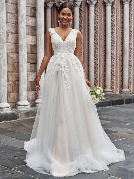 Trapèze/Principessa Col en V Tulle Appliqués Sans Manches Traîne courte Robes de mariée