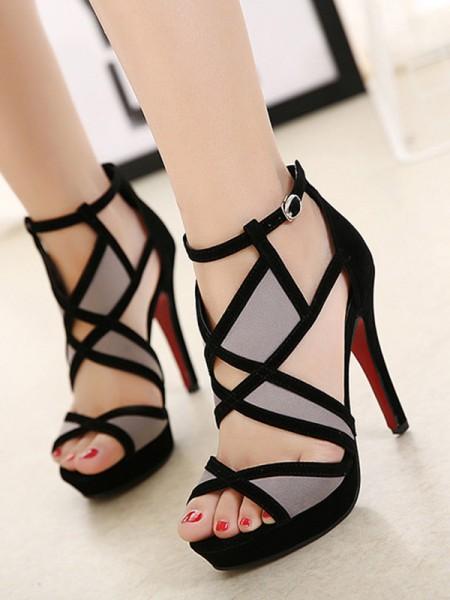 Aux Femmes Hollow-out Stiletto Heel Peep Toe Des sandales