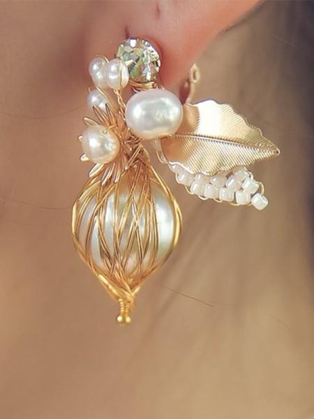 Élégante Alloy With Imitation Pearl boucles d'oreilles For Ladies