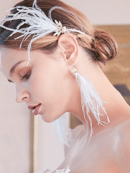 Awesome Alloy With Faux diamants/Feather boucles d'oreilles For Women