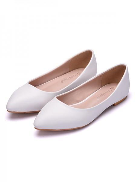 Aux Femmes PU Closed Toe Flat Heel Flat Des chaussures
