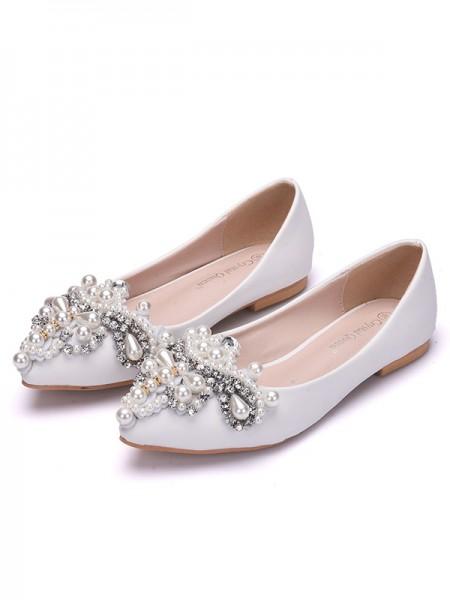 Aux Femmes PU Closed Toe Avec Pearl Flat Heel Flat Des chaussures