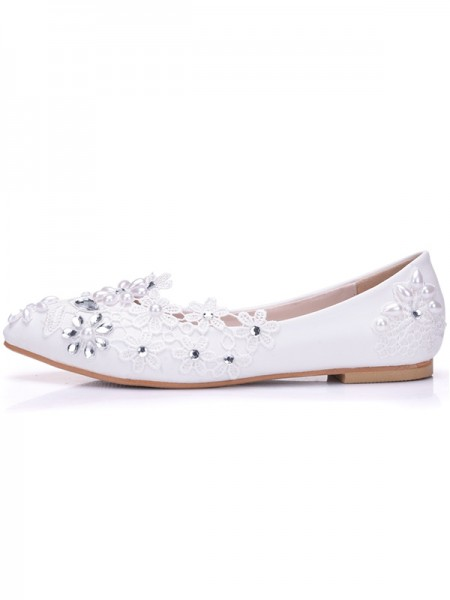 Aux Femmes PU Closed Toe Flat Heel With Flower Flat Des chaussures