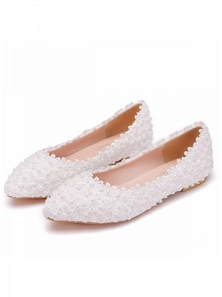 Aux Femmes PU Closed Toe Avec Fleur Flat Heel Flat Des chaussures
