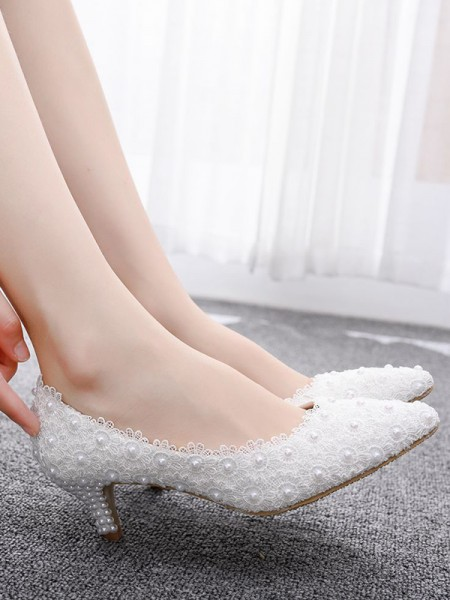 Aux Femmes PU With Perles Closed Toe Kitten Heel Talons hauts