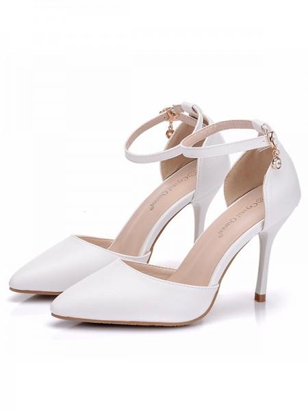 Aux Femmes PU Closed Toe Stiletto Heel Des sandales