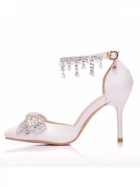 Aux Femmes PU Closed Toe With Faux diamants Stiletto Heel Des sandales
