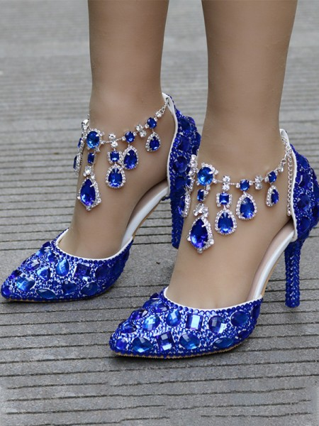 Aux Femmes PU With Faux diamants Closed Toe Stiletto Heel Talons hauts