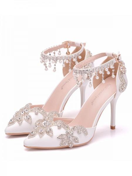 Aux Femmes PU Closed Toe Avec Faux diamants Stiletto Heel Des sandales
