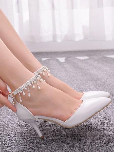 Aux Femmes PU Closed Toe With Perles Stiletto Heel Talons hauts