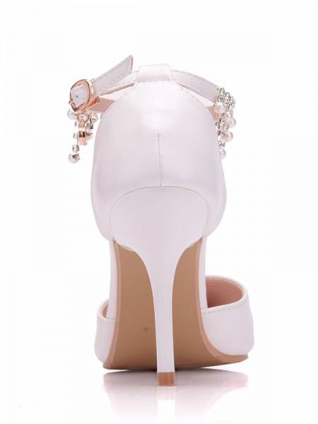 Aux Femmes PU Closed Toe Stiletto Heel With Perles Talons hauts