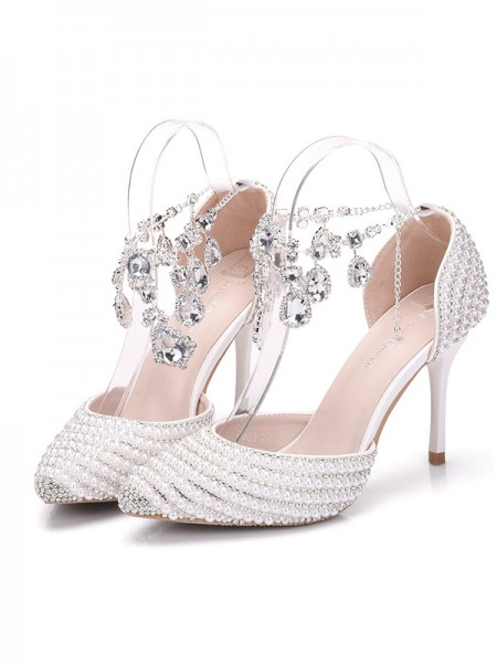 Aux Femmes PU Closed Toe Avec Pearl Stiletto Heel Des sandales