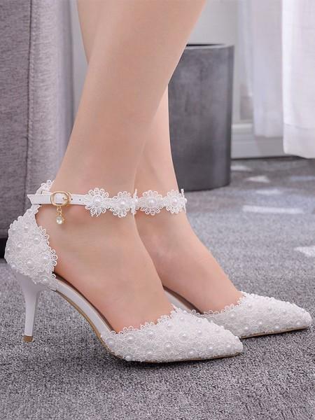 Aux Femmes PU Closed Toe With Flower Stiletto Heel Talons hauts