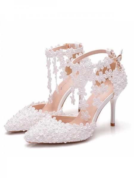 Aux Femmes PU Closed Toe Avec Fleur Stiletto Heel Des sandales