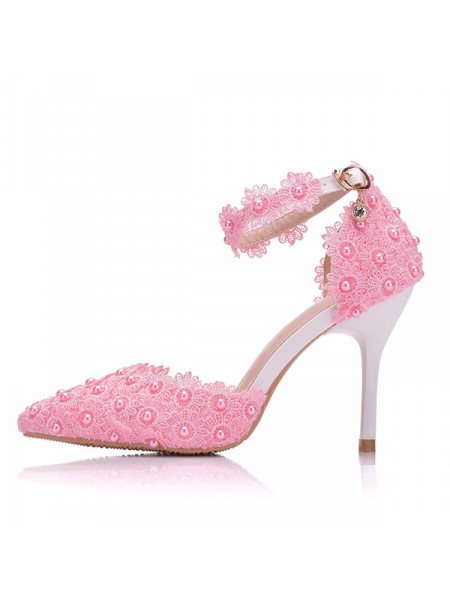 Aux Femmes PU With Flower Closed Toe Stiletto Heel Talons hauts