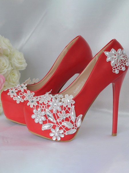 Aux Femmes PU Closed Toe Stiletto Heel With Flower Platforms Des chaussures
