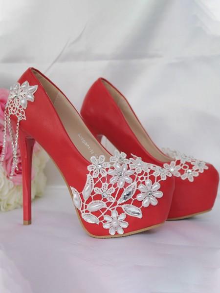 Aux Femmes PU Closed Toe With Tassel Stiletto Heel Platforms Des chaussures