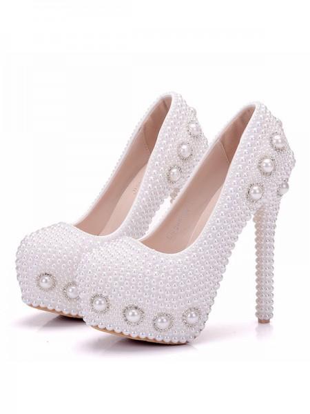 Aux Femmes PU Closed Toe Avec Pearl Stiletto Heel Platforms Des chaussures