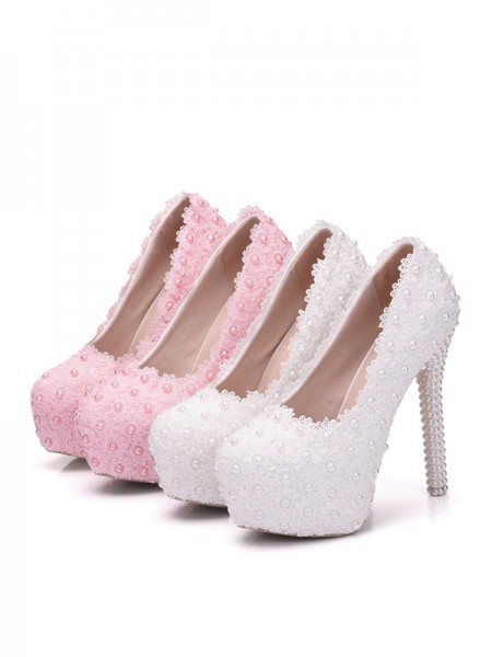 Aux Femmes PU With Flower Closed Toe Stiletto Heel Platforms Des chaussures