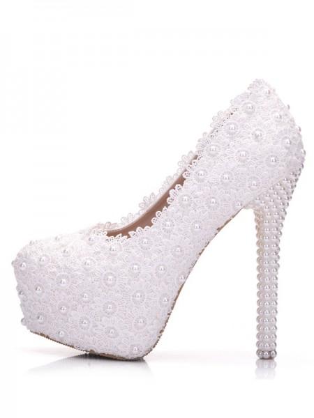 Aux Femmes PU With Flower Stiletto Heel Closed Toe Platforms Des chaussures