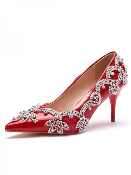 Aux Femmes PU Closed Toe Avec Faux diamants Stiletto Heel Talons hauts